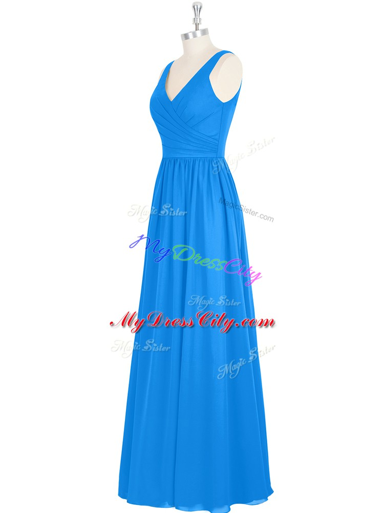 Fantastic Floor Length Zipper Prom Dress Royal Blue for Prom and Party and Military Ball with Ruching