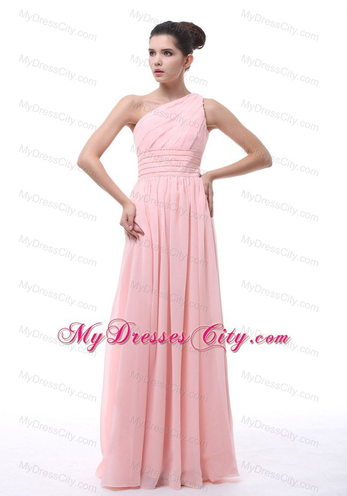 One Shoulder Ruching and Beading Decorate Junior Bridesmaid Dress