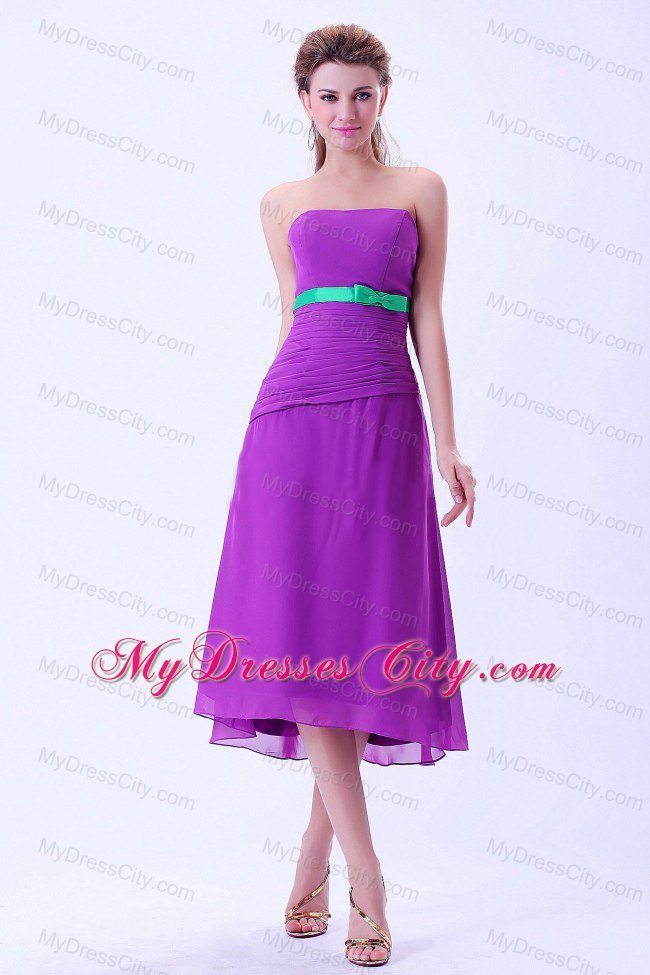 Purple Tea-length Chiffon Column Bridemaid Dress with Green Belt ...
