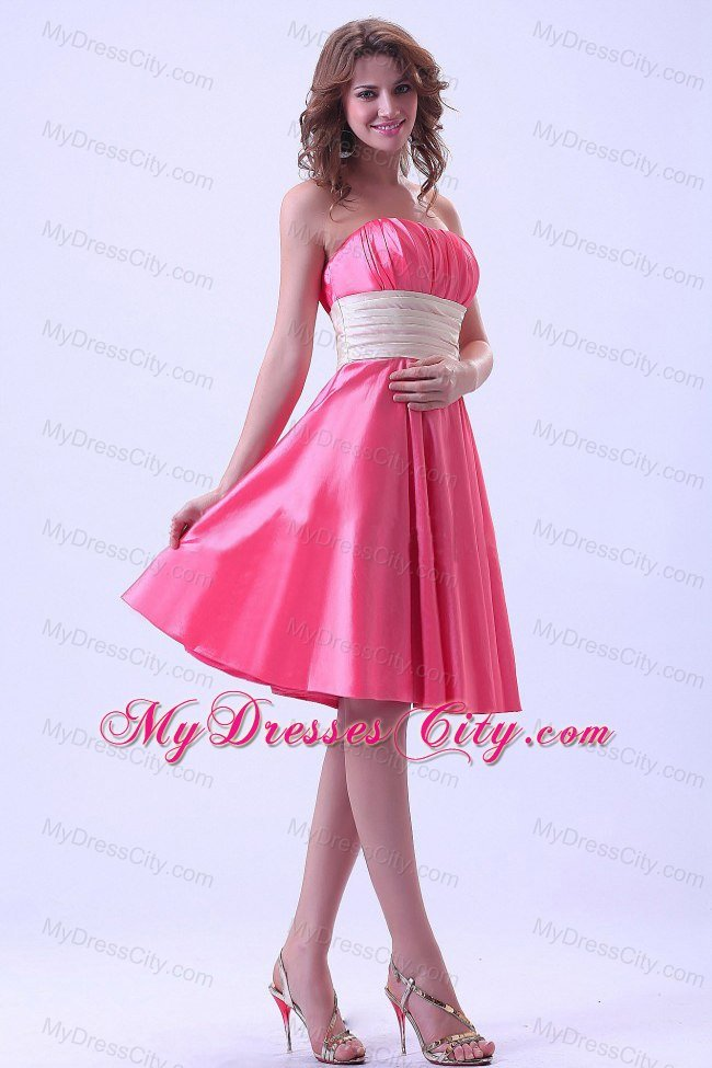 Knee-length Hot Pink Ruching Bridesmaid Dress with Champagne Belt ...