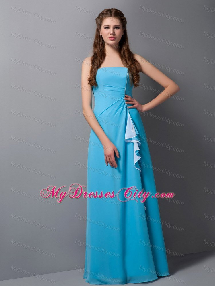Blue Column Strapless Floor-length Ruches Chiffon Bridesmaid Dress