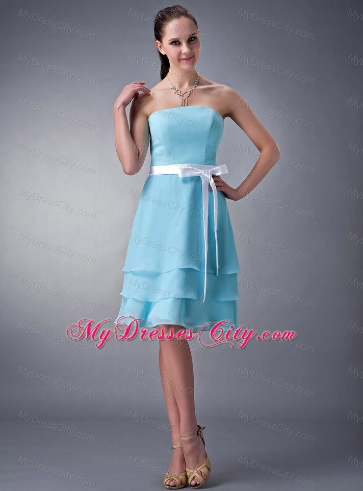 Aqua Blue Empire Strapless Bridesmaid Dress with layers and White Sash
