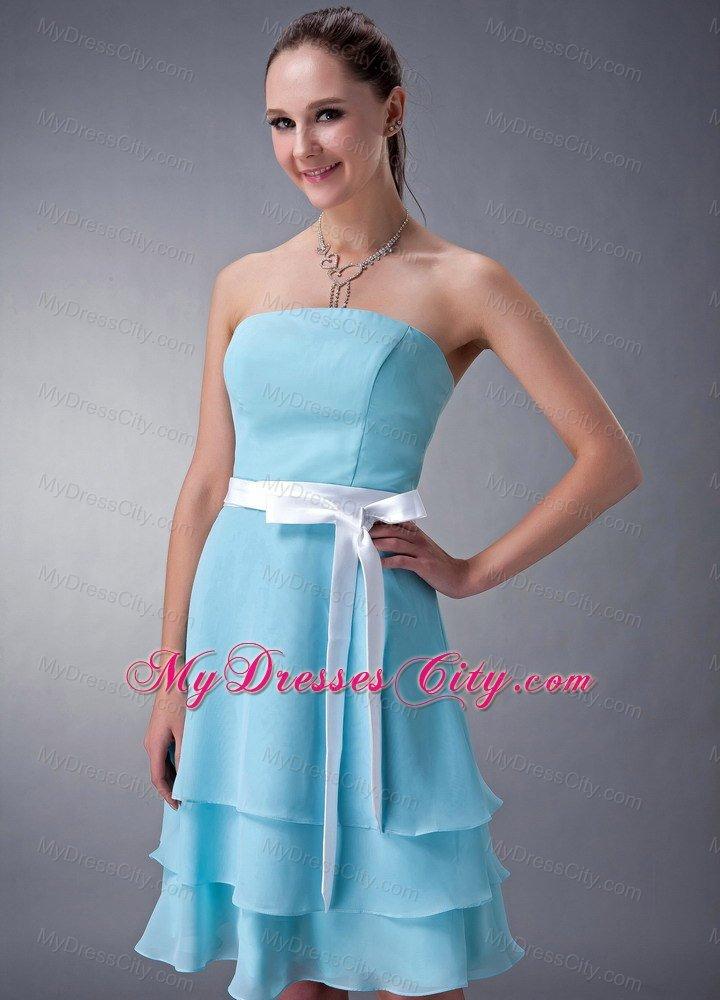 Short aqua blue empire strapless bridesmaid dress with for Aqua blue and white wedding dresses