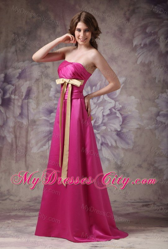 Long ruched hot pink bridesmaid dress with champagne sash for Pink champagne wedding dress