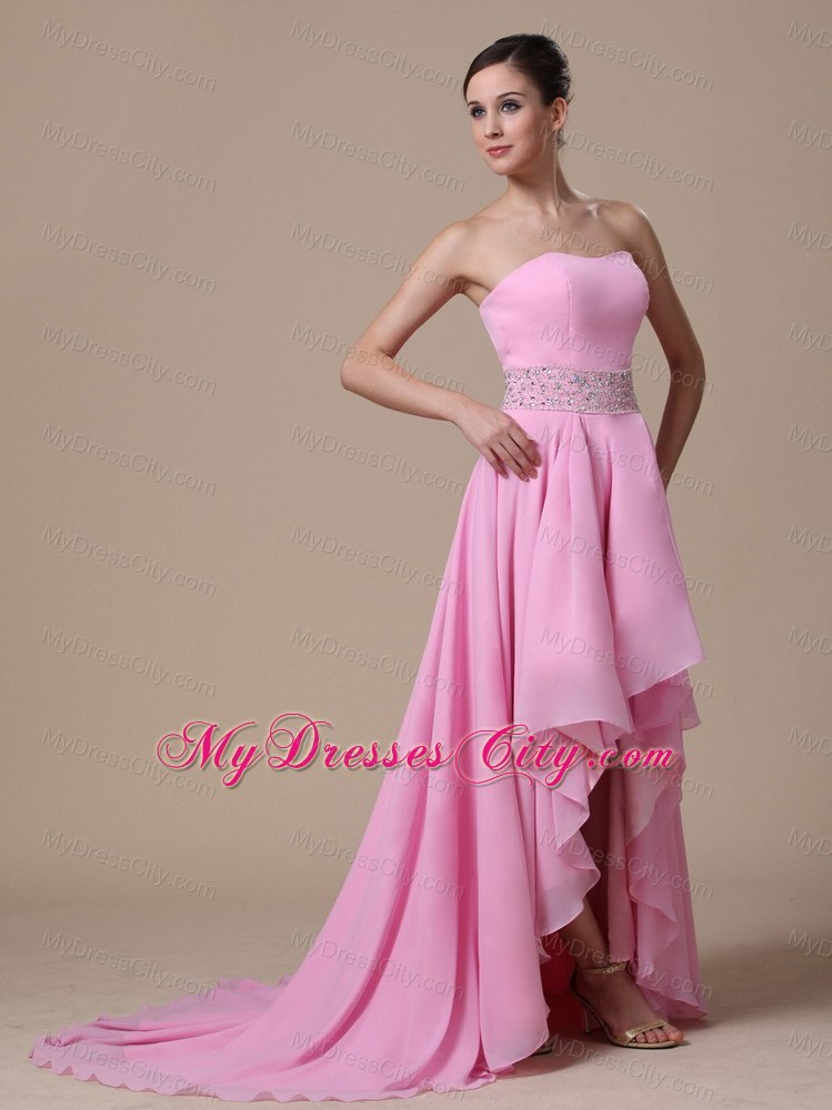 Baby Pink High Low Beaded Prom Evening Dress With Train