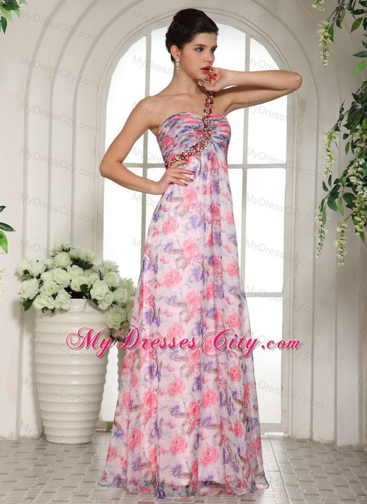 one shoulder beaded 2013 printing prom dress for girls