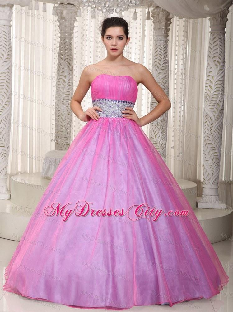 Strapless Hot Pink Princess Beading Prom Dress On Sale - MyDressCity.com