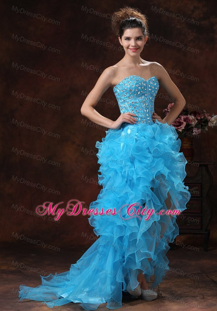 High-low Aqua Blue Prom Dress with Beadings and Ruffles ...