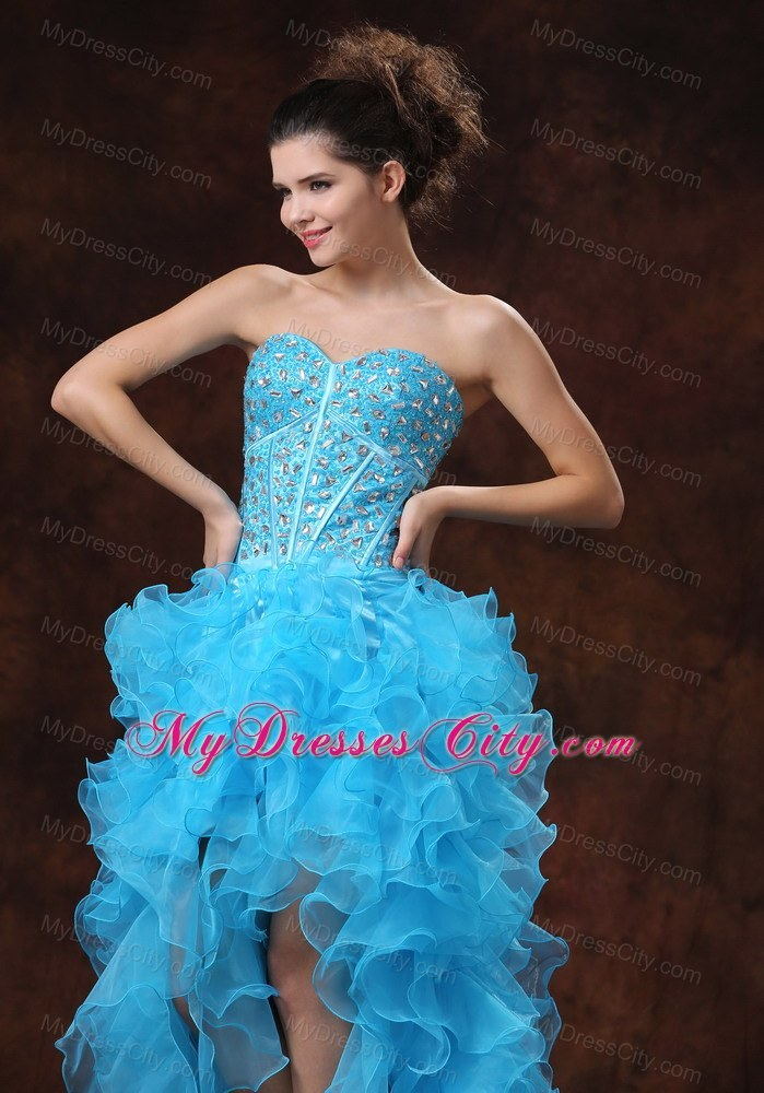 highlow aqua blue prom dress with beadings and ruffles