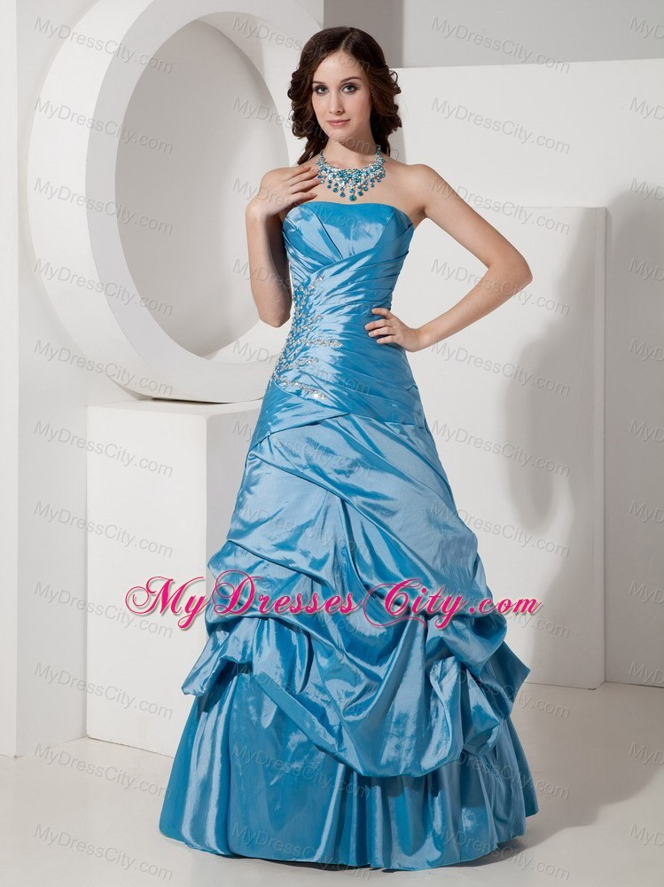 Taffeta Sky Blue Prom Dress Beaded With Strapless Pick Ups