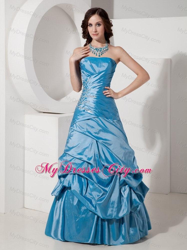 taffeta sky blue prom dress beaded with strapless pickups