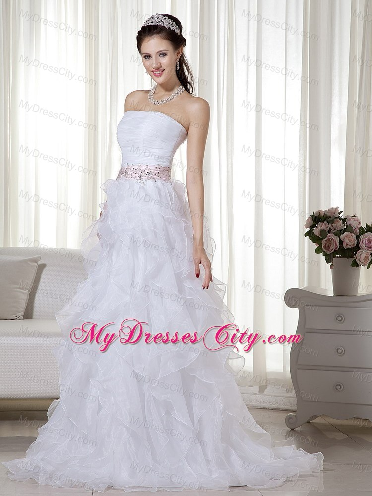 Stapless Organza White A-line Brush Beaded Dress for Prom ...