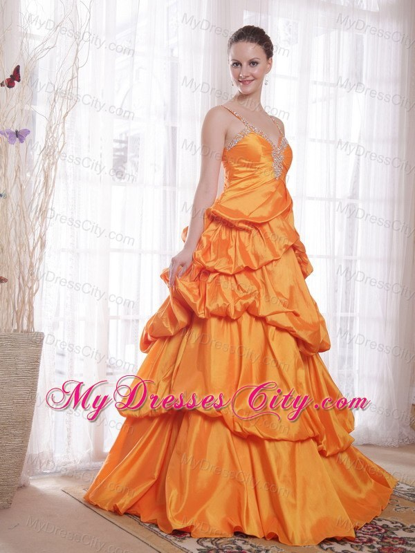 Orange Taffeta Dress
