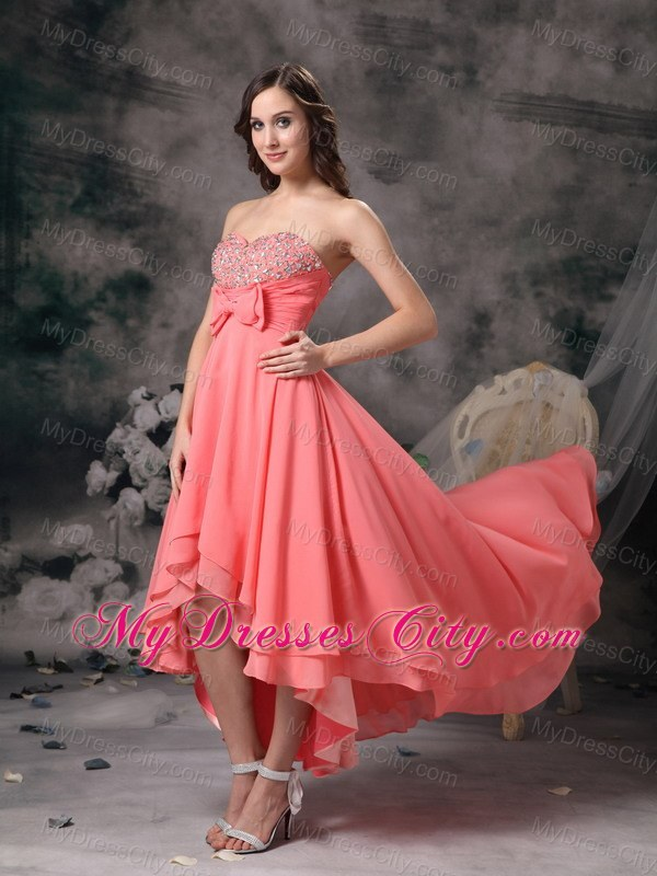 Watermelon High-low A-line Chiffon Bowknot Beaded Prom Gown ...
