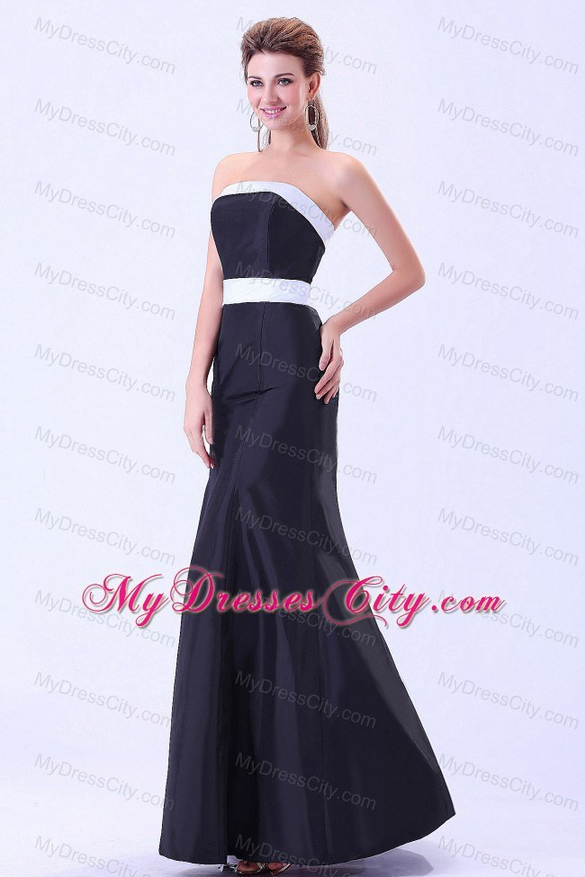Simple ankle length black satin white belt bridesmaid for Simple ankle length wedding dresses