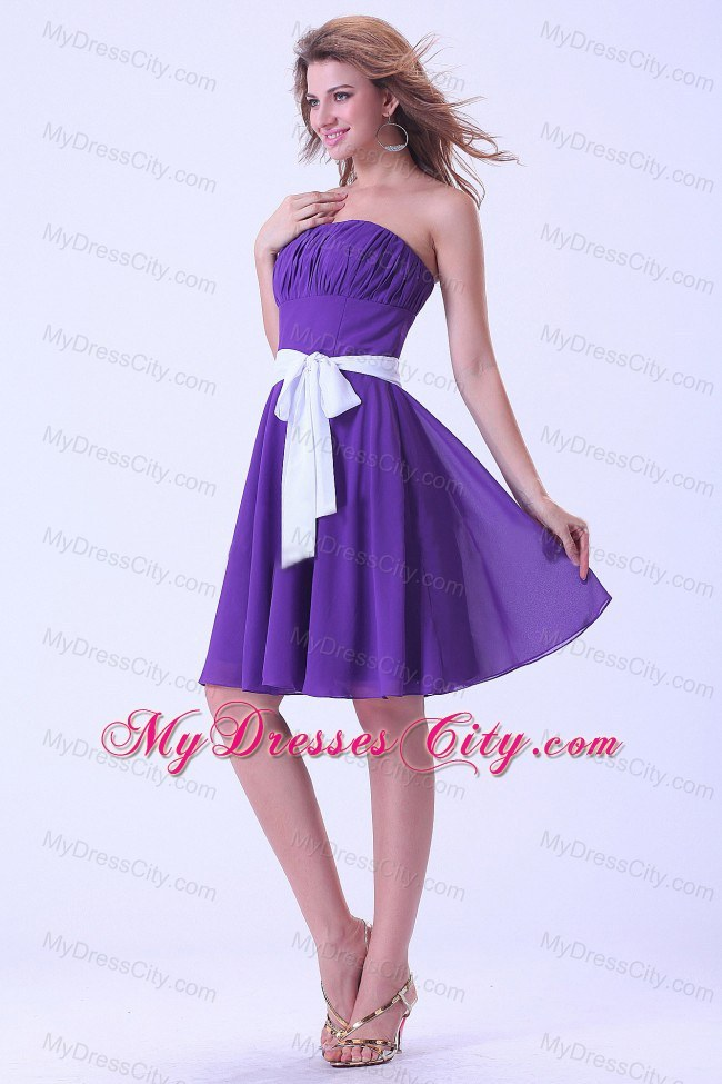 Purple Chiffon Knee-length Bridesmaid Dress with White Sash ...