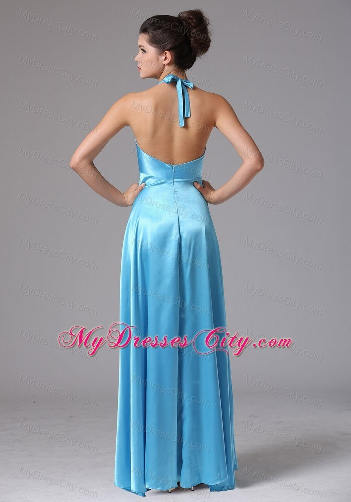 Stylish Baby Blue Halter Long Bridesmaid Dress with