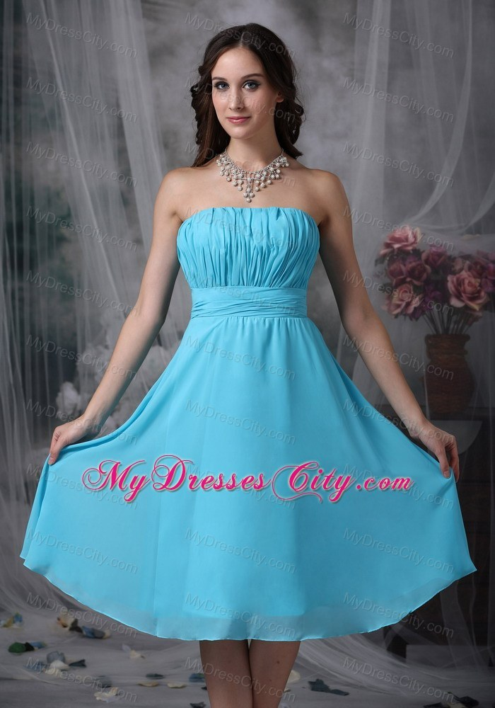 Aqua Blue Empire Strapless Knee-length Ruched Bridesmaid Gown ...