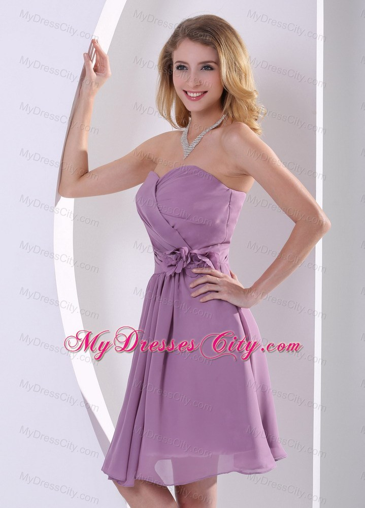 Sweetheart Hand Made Flowers and Ruched Purple Bridesmaid Dress ...