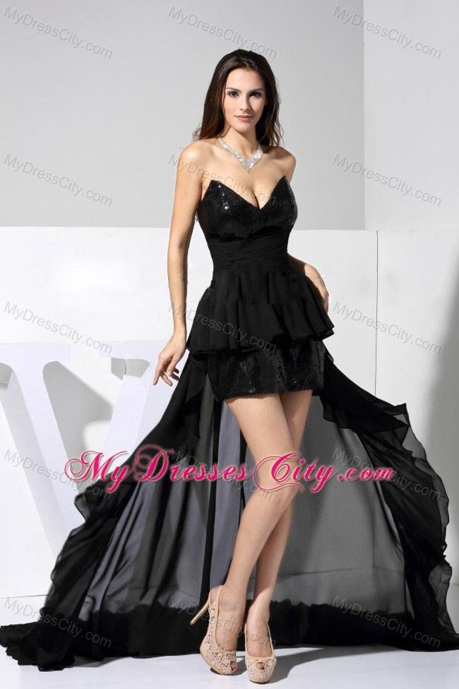 V-Cut Neckline High-low Sequins Court Train Black Prom Dress ...