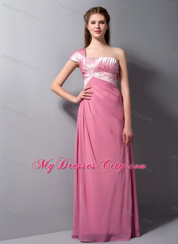 One Shoulder Cap Sleeves Beading Long Pink Prom Dress for Girls ...