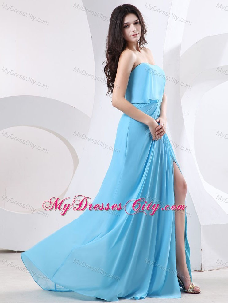 Strapless Chiffon Cheap Baby Blue Prom Dress with Slits