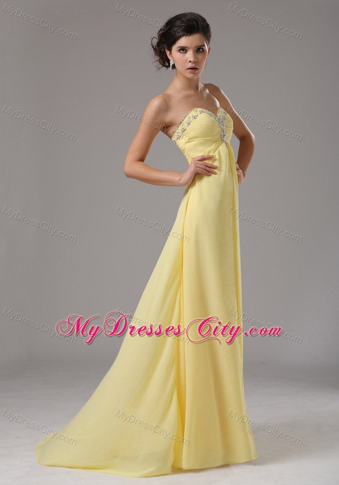 Long Yellow Sweetheart Chiffon Prom Dress With Beading ...