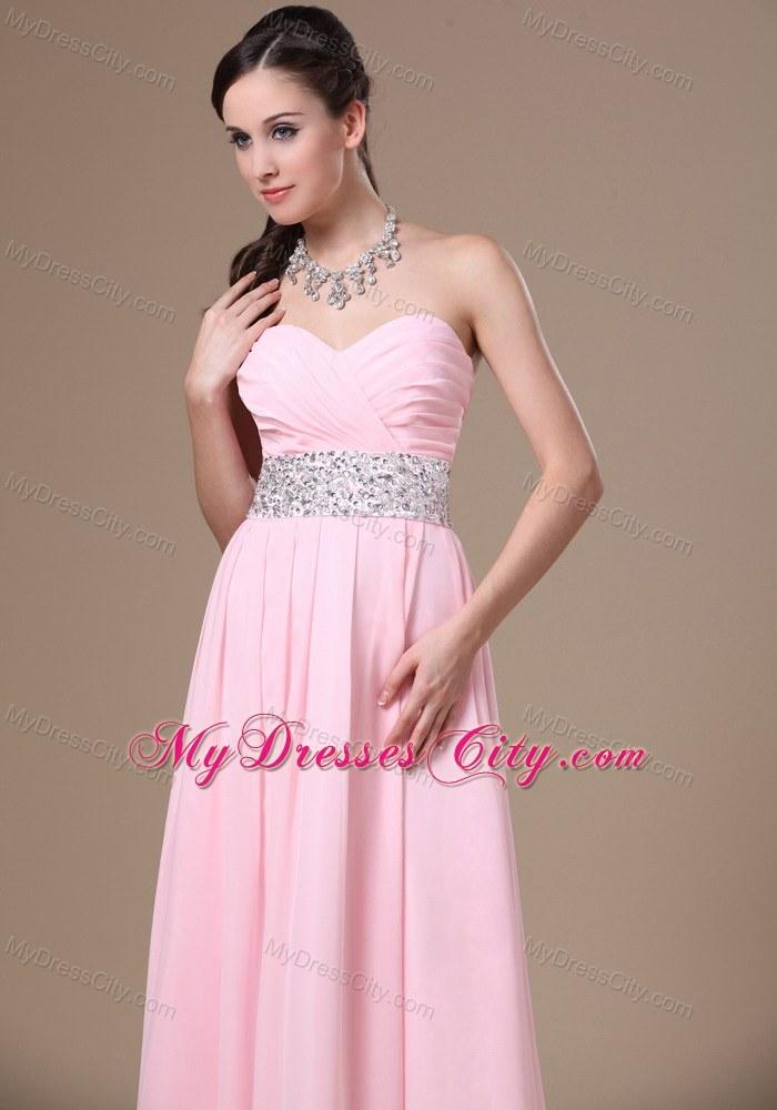 Pink Chiffon Sweetheart Prom Dress with Beaded Waist - MyDressCity.com