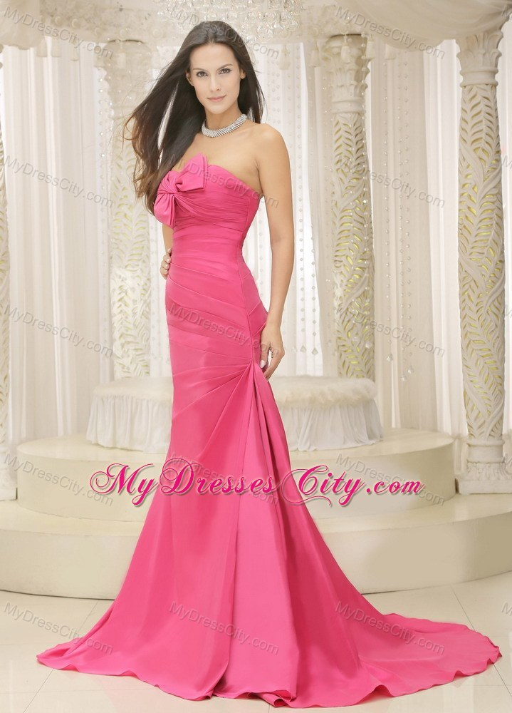Rose Pink A-line Ruched Bodice Satin Bowknot Dress for Prom - MyDressCity.com