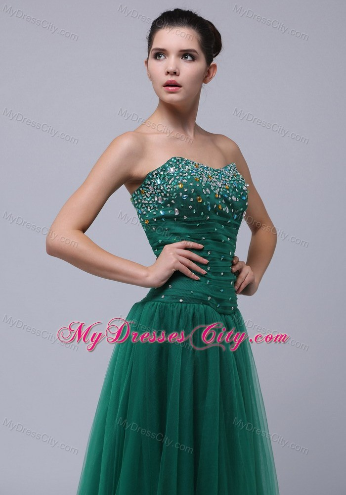 Tulle Strapless Beaded Bust Prom Dress