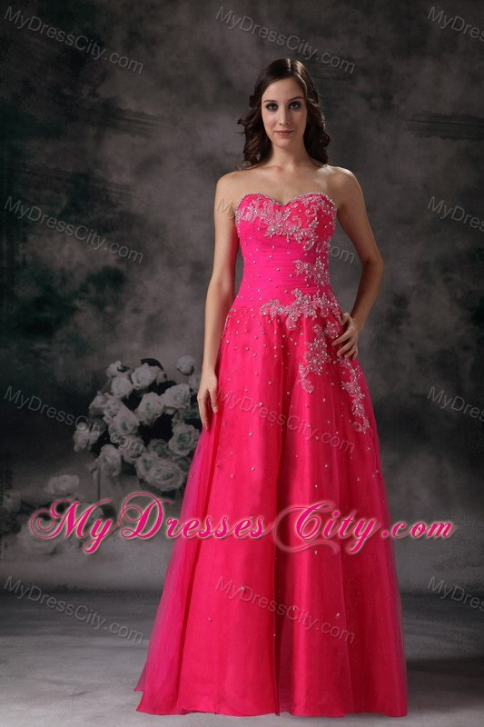 Beaded Hot Pink A Line Sweetheart Prom Formal Dress Mydresscity