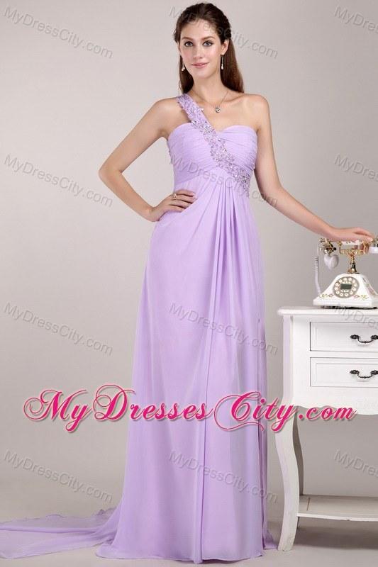Lavender Watteau Train Chiffon One Shoulder Party Dress ...