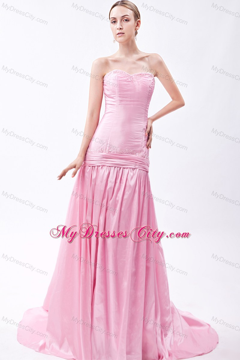 Beaded Mermaid Pink Sweetheart Prom Dress with Train - MyDressCity.com