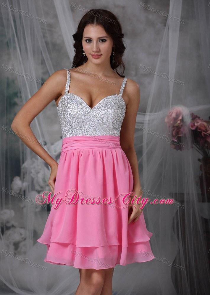 Spaghetti Straps Short Pink Dresses