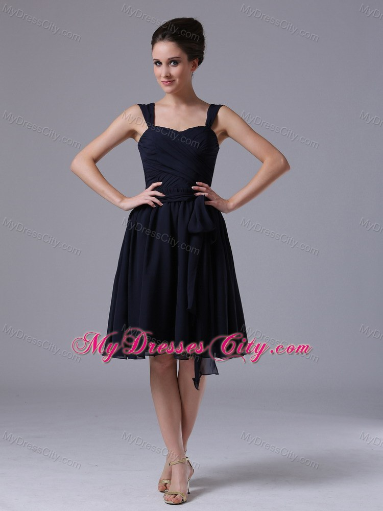 Straps Ruching Chiffon Navy Blue Short Prom Dresses for ...