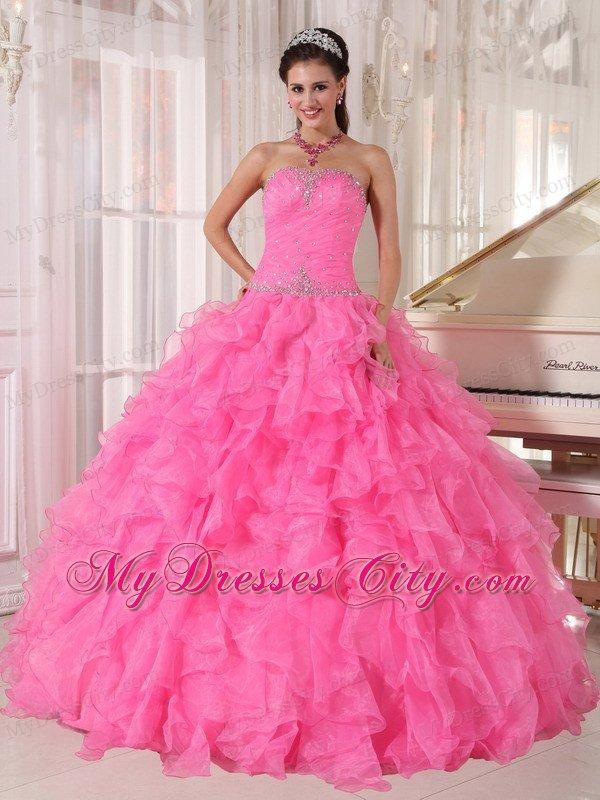 Decorate Waist Hot Pink Ruffles Sleeveless Dress for Sweet 16
