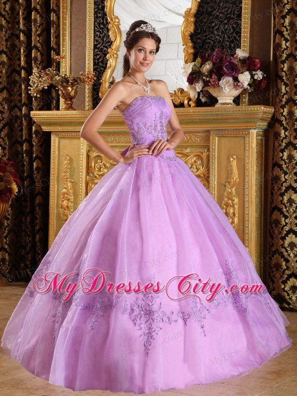 Lavender Strapless Appliques Ball Gown Floor length Sweet 15 Dresses