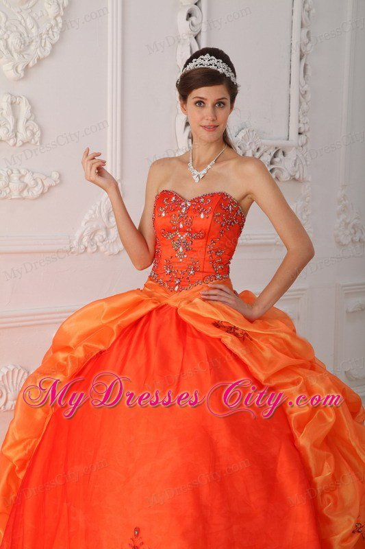 Court Train Beading Embroidery Quinceanera Dress in Orange Red
