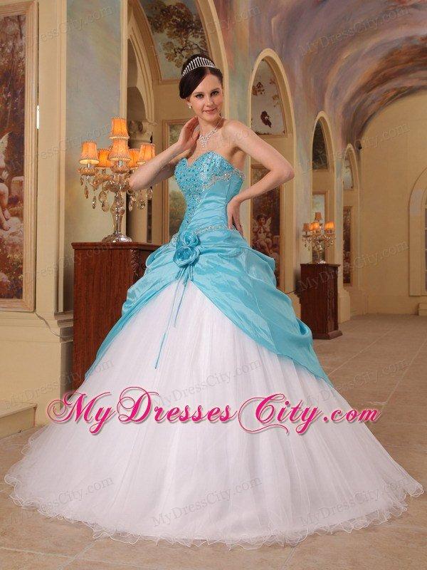 Aqua blue and white beading sweetheart princess for Aqua blue and white wedding dresses