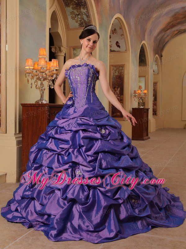Ball Gown Court Train Flower Purple Quinceanera Gowns 2013