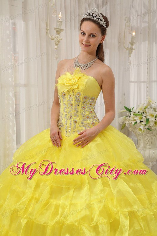Beading Decorate Waist Strapless Tiered Yellow Quinceanera Dress ...