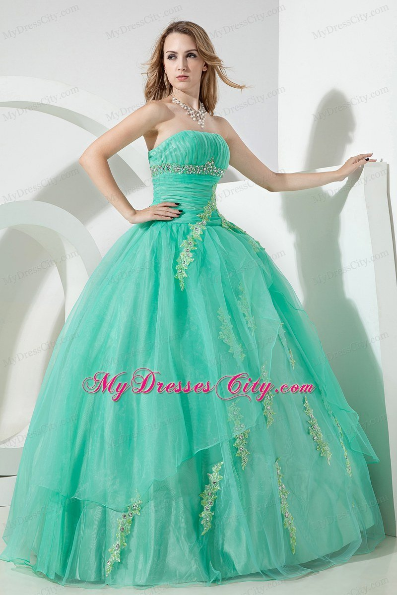 Apple Green Organza Ruches and Appliques 2013 Sweet 15 Dress ...