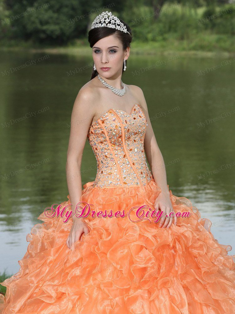 Orange Sweetheart Beaded Quinceanera Dress with Organza 2013
