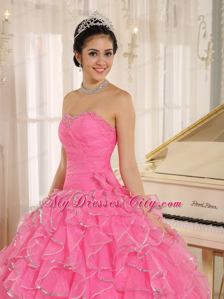 Beautiful Rose Pink Puffy Sweet 15 Dress with Ruches and Beading ...