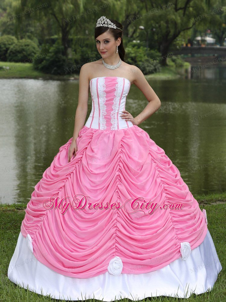 2013 Exquisite Pick Ups Rose Pink And White Sweet 16 Dress