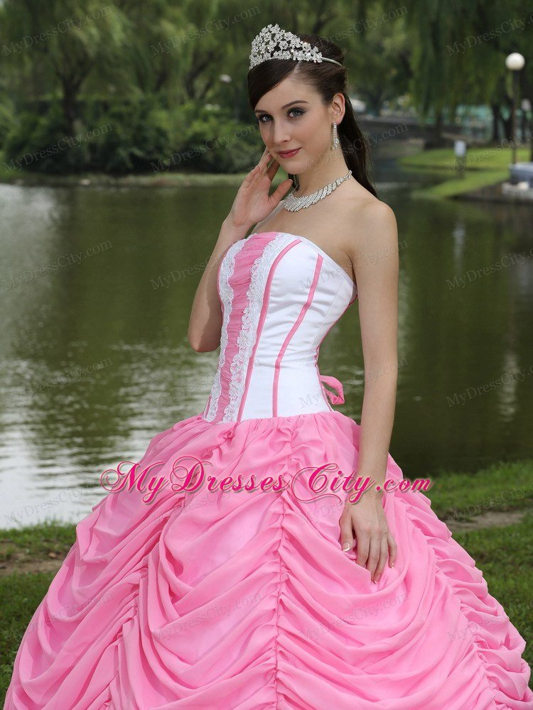 2013 exquisite pickups rose pink and white sweet 16 dress