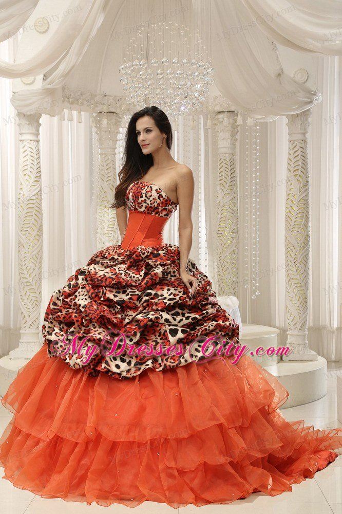 Puffy Leopard Ruffled Layers Quinceanera Dress in Party 2013