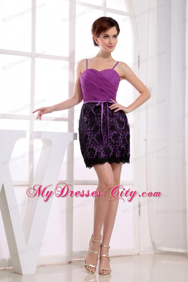 lace and straps decorate column mini length celebrity dress in fuchsia. Black Bedroom Furniture Sets. Home Design Ideas