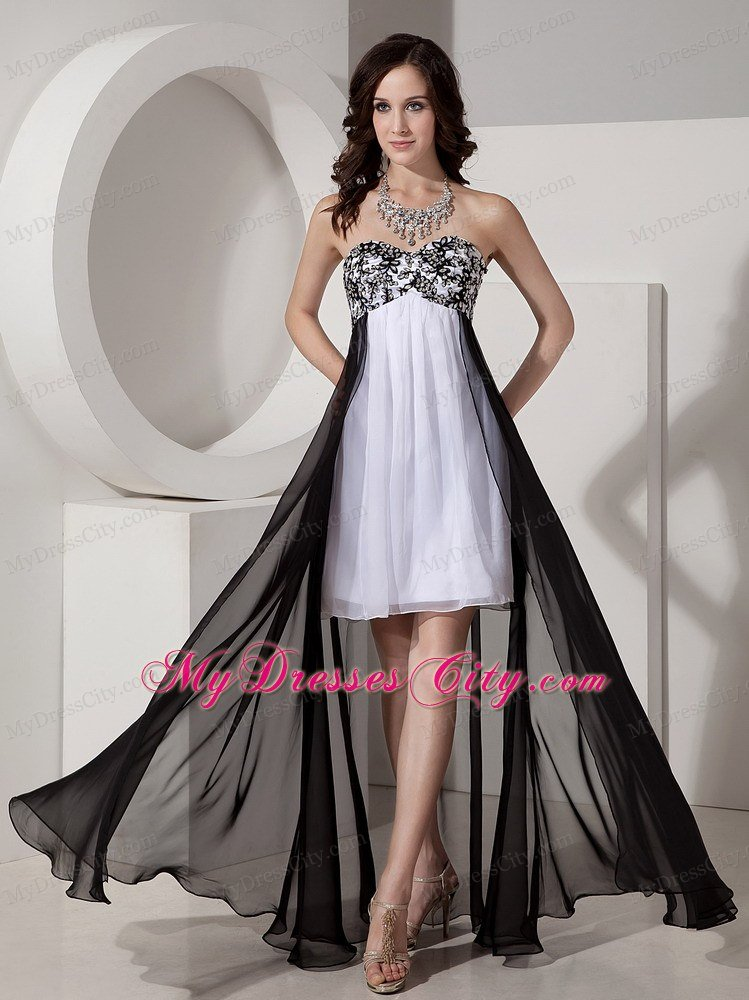 Black and white detachable high low appliques bridesmaid for Wedding dresses high low