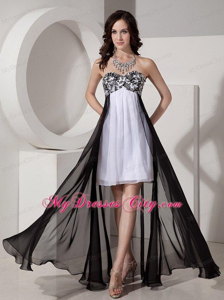 Black And White Detachable High Low Appliques Bridesmaid